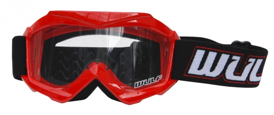 Wulfsport Kinder Cross / Schutz Brille Typ Tech Farbe rot - Cub Tech Goggles